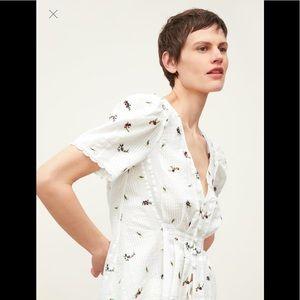 Zara White embroider floral top sz M